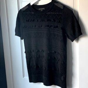BANANA REPUBLIC Short-sleeve Ruffle/Mesh Sweater